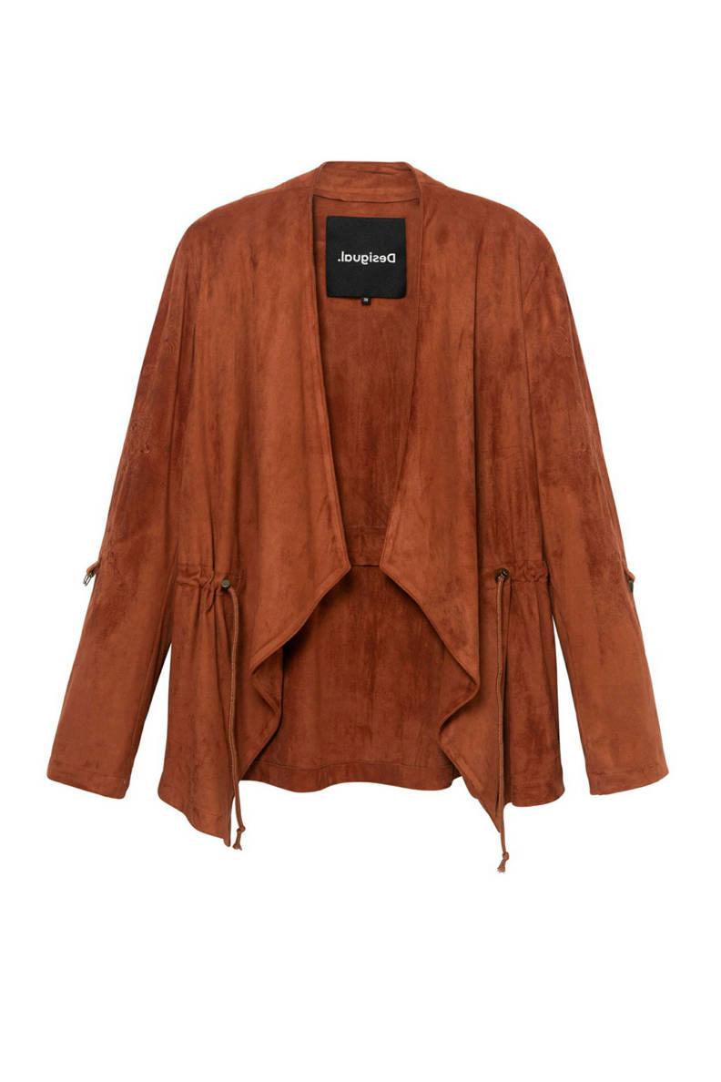 imitatieleren jasje met borduursels brique