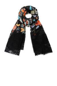 Desigual sjaal met allover print zwart, Zwart