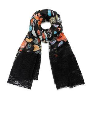 sjaal met allover print zwart