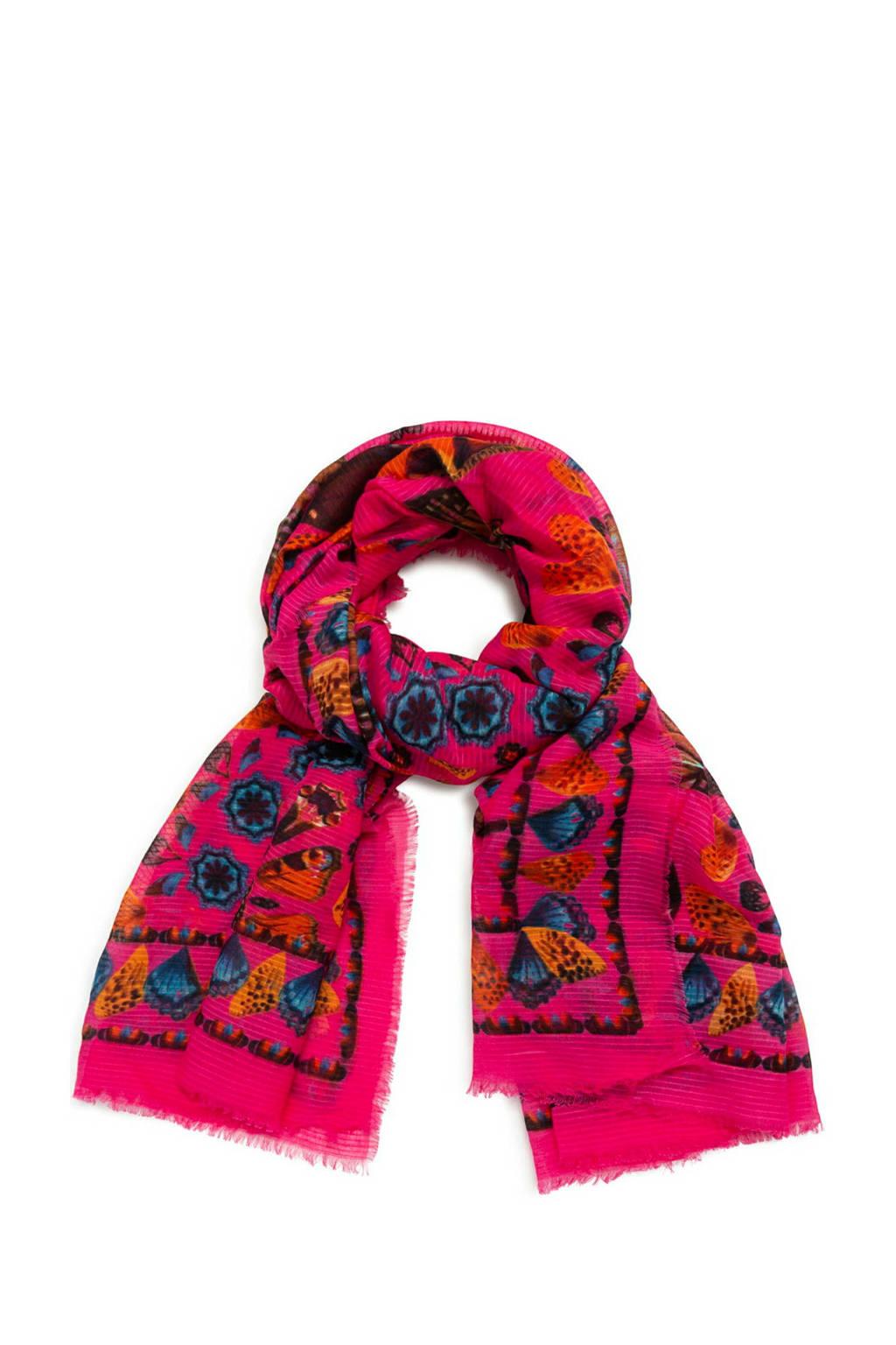 Desigual sjaal met all over print fuchsia, Fuchsia