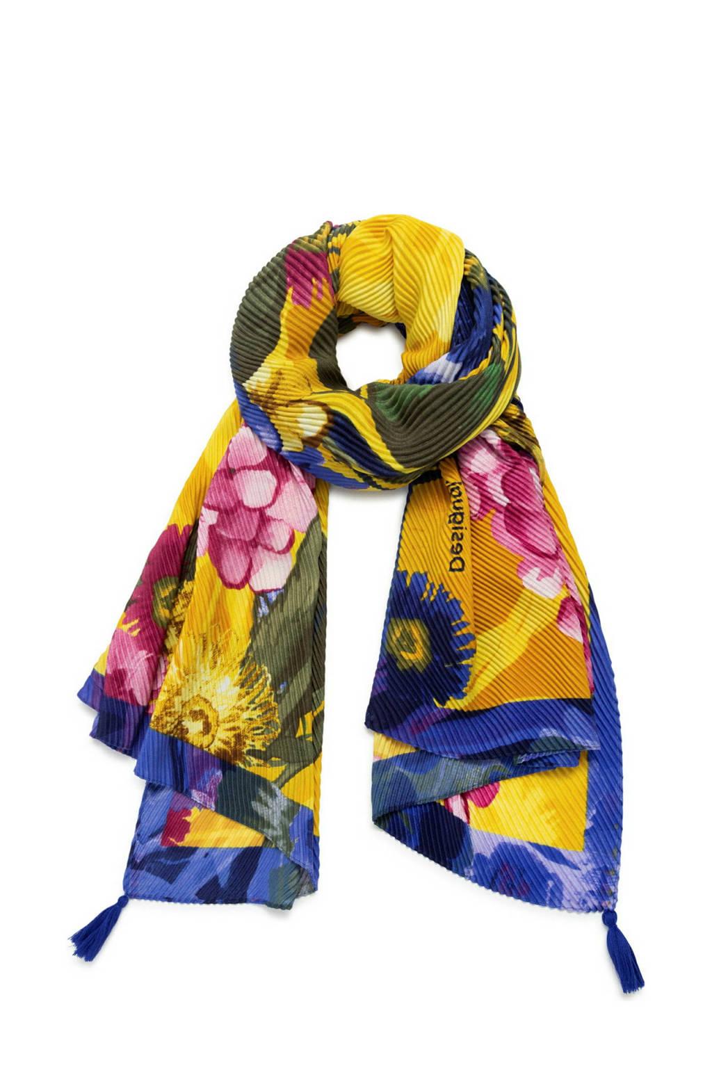 Desigual sjaal met bloemenprint geel/blauw, Geel/blauw