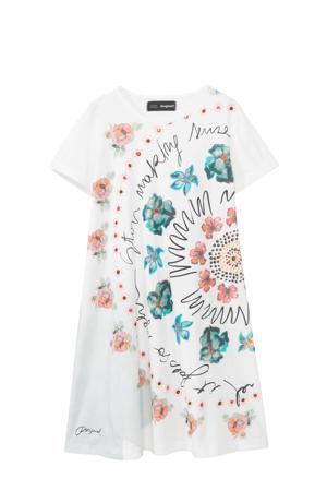 jurk met printopdruk wit/roze/groen
