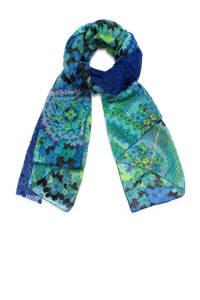 Desigual sjaal met allover print blauw, Donkerblauw