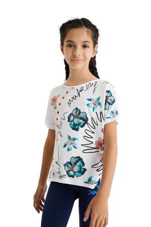 T-shirt met printopdruk wit/roze/groen
