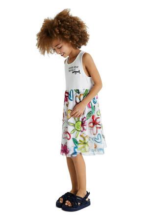 gebloemde semi-transparante A-lijn jurk wit/multicolor