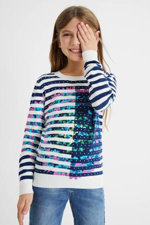 trui met all over print wit/donkerblauw/roze