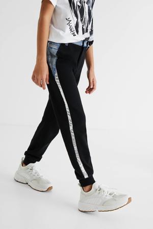 joggingbroek met zijstreep zwart/zilver/blauw