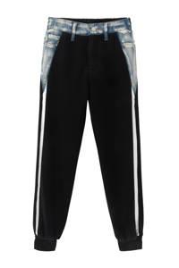 Desigual joggingbroek met zijstreep zwart/zilver/blauw, Zwart/zilver/blauw