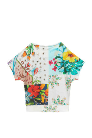 T-shirt met all over print wit/multicolor