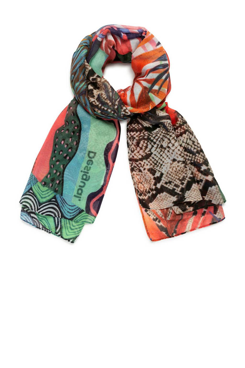 Desigual sjaal met allover print multi, Multi