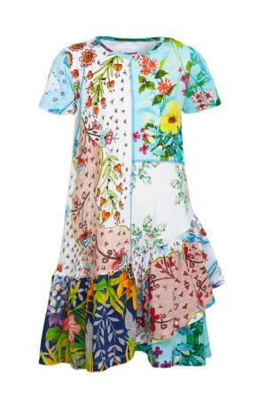 jurk met all over print en volant multi color