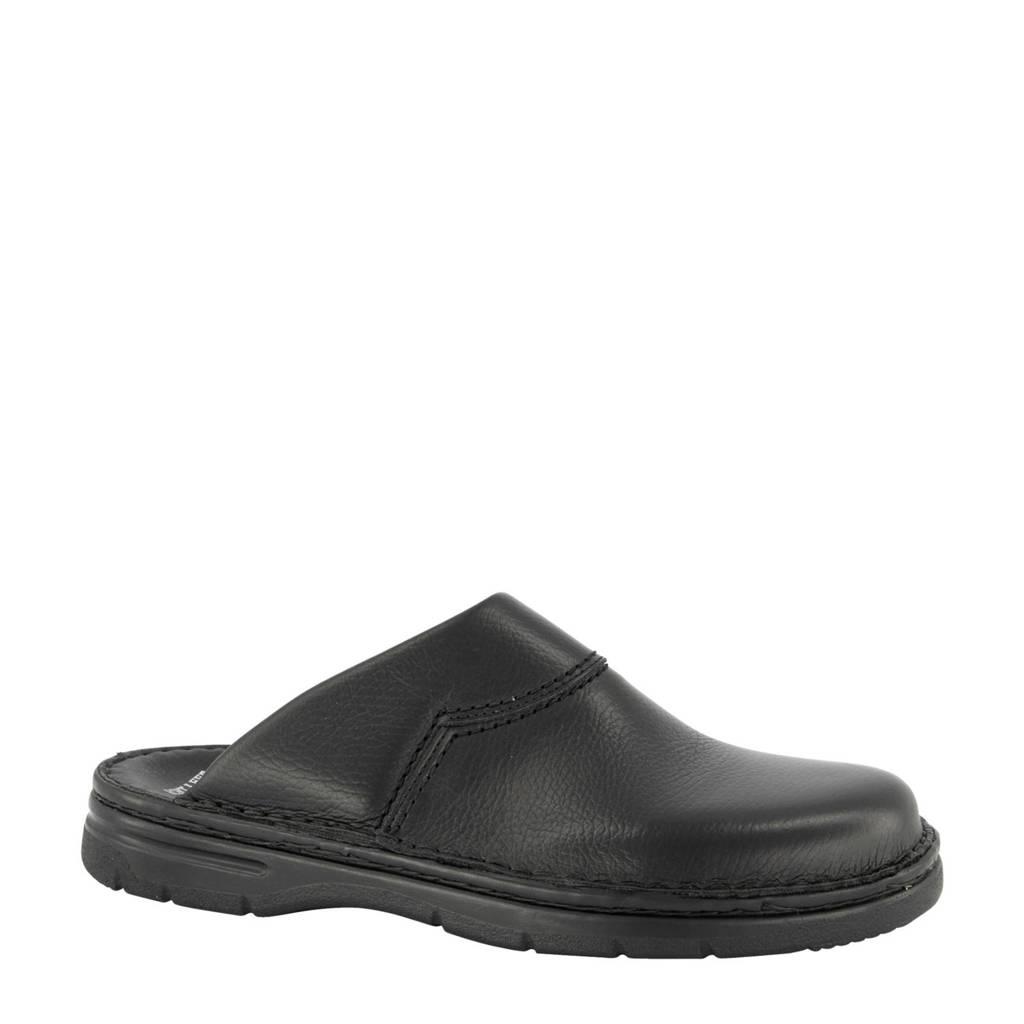 Easy Street leren pantoffels zwart, Zwart