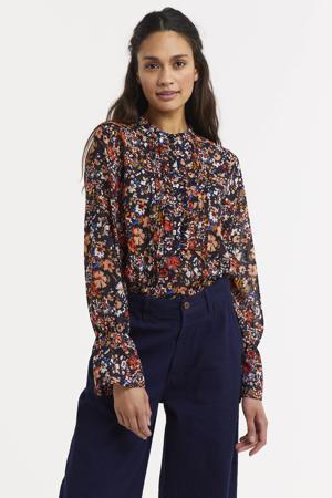 gebloemde semi-transparante blouse zwart/rood/oranje
