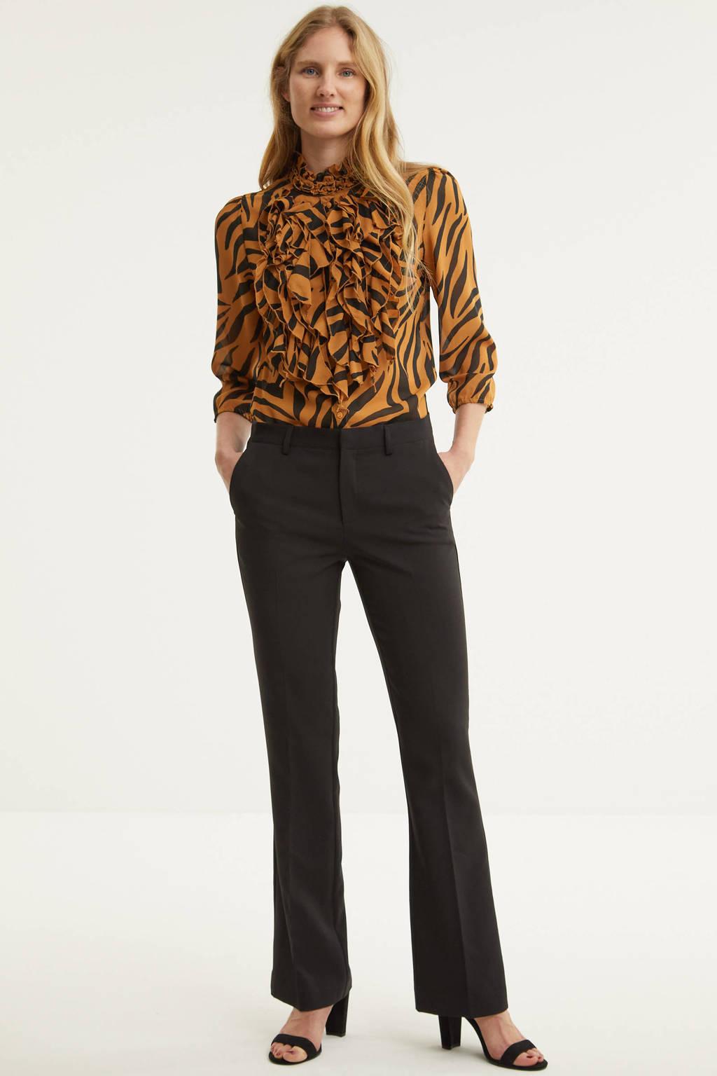Saint Tropez blouse Lilly met dierenprint en ruches lichtbruin, Lichtbruin