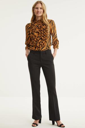 blouse Lilly met dierenprint en ruches lichtbruin