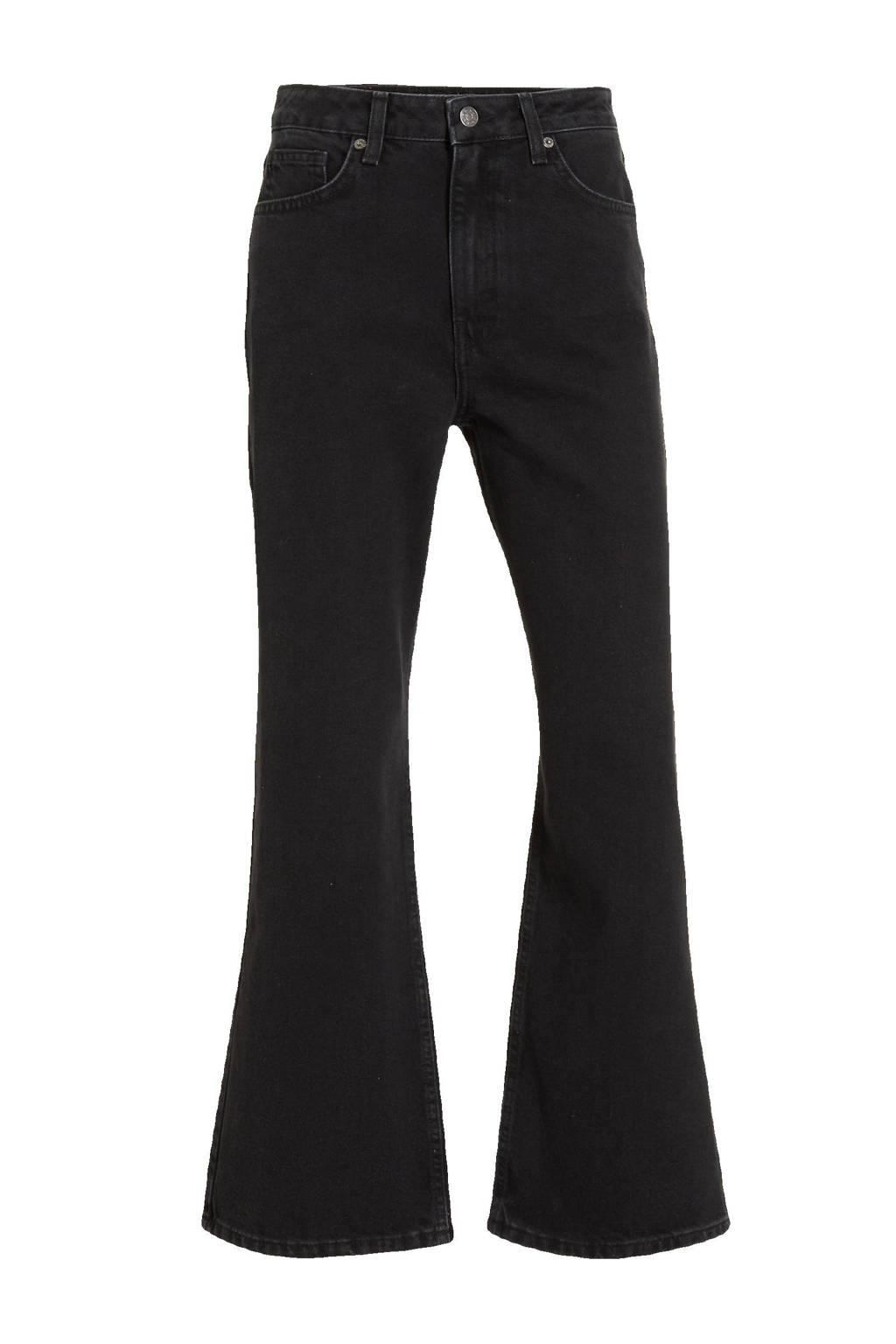 NA-KD cropped high waist regular fit jeans zwart, Zwart