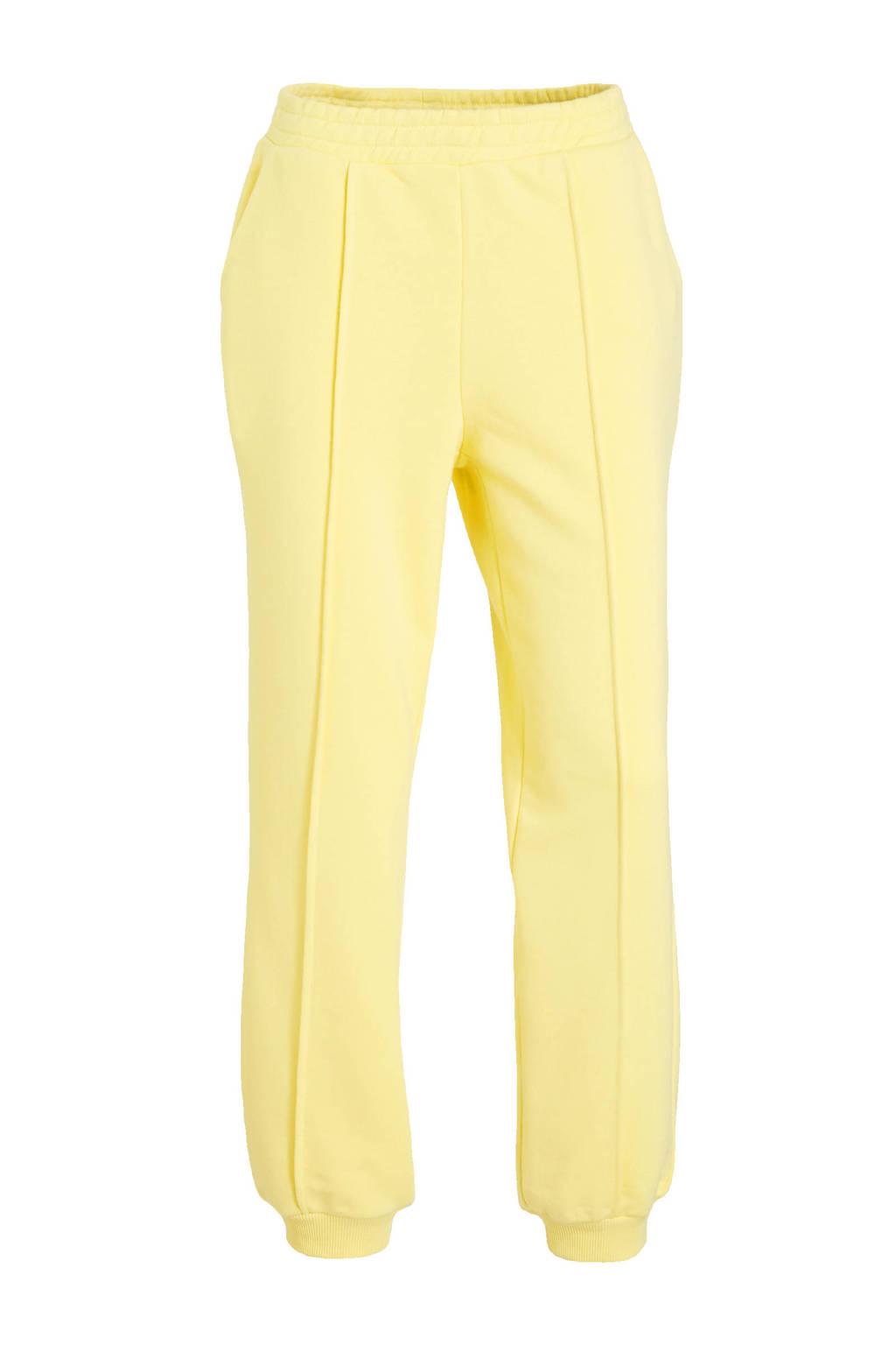 NA-KD cropped high waist wide leg broek lichtgeel, Lichtgeel