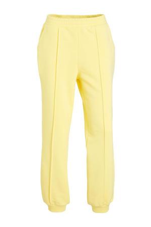 cropped high waist wide leg broek lichtgeel