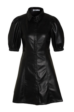 imitatieleren blousejurk met plooien zwart