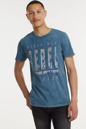 T-shirt RRAce met logo blauw melange