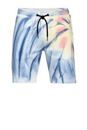 slim fit short met all over print lichtblauw