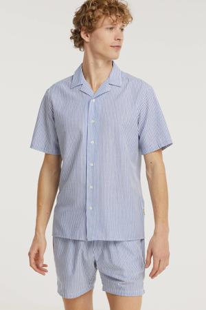 gestreept regular fit overhemd Jonathan blauw/wit