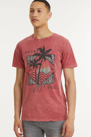 T-shirt RRApollo  met printopdruk donker oudroze