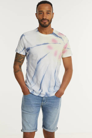 T-shirt Finn  met all over print blauw