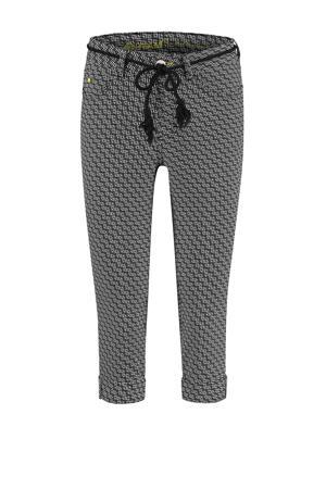 skinny broek Grace met all over print zwart/wit
