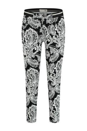 skinny broek Capri (Elastic) met paisleyprint zwart/wit