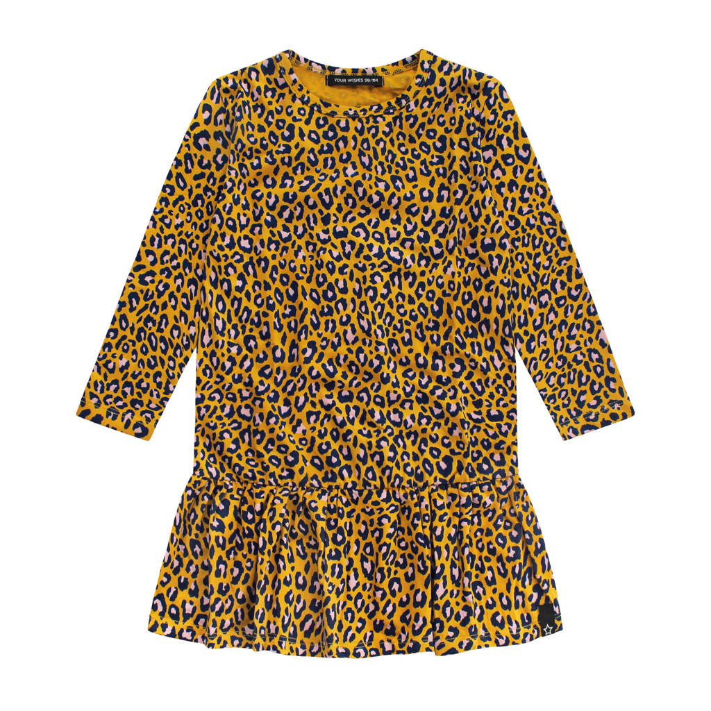 Your Wishes jurk met panterprint en ruches oker/zwart, Oker/zwart