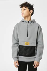 CoolCat Junior hoodie Silvijn met tekst grijs, Grijs