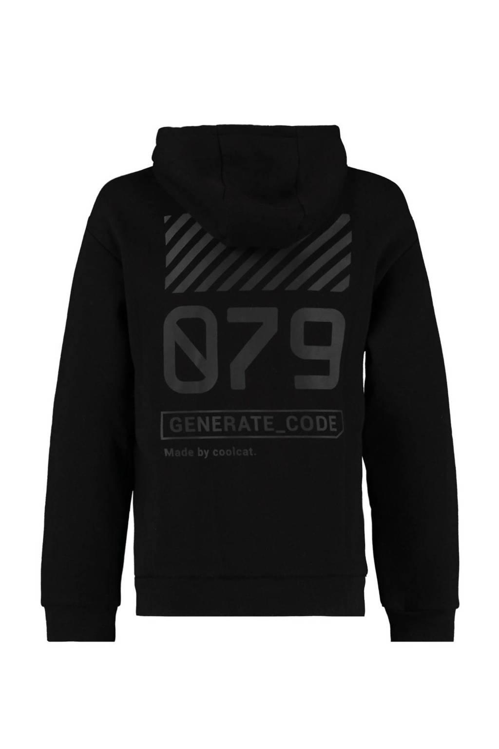 CoolCat Junior hoodie Silvijn met tekst zwart, Zwart