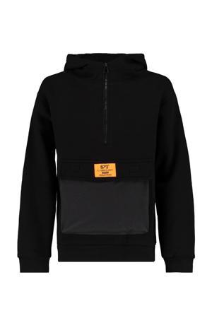 hoodie Silvijn met tekst zwart