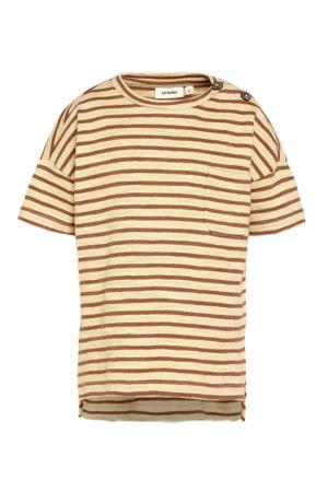 gestreept T-shirt Eddy van biologisch katoen camel/beige