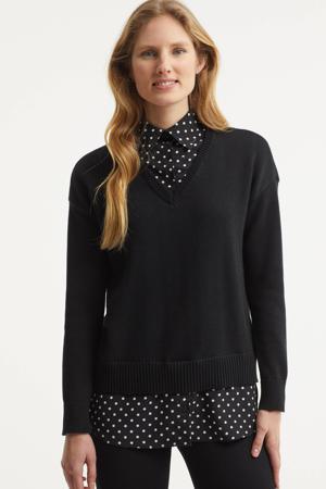 gelaagde trui + blouse zwart/wit Perdyta