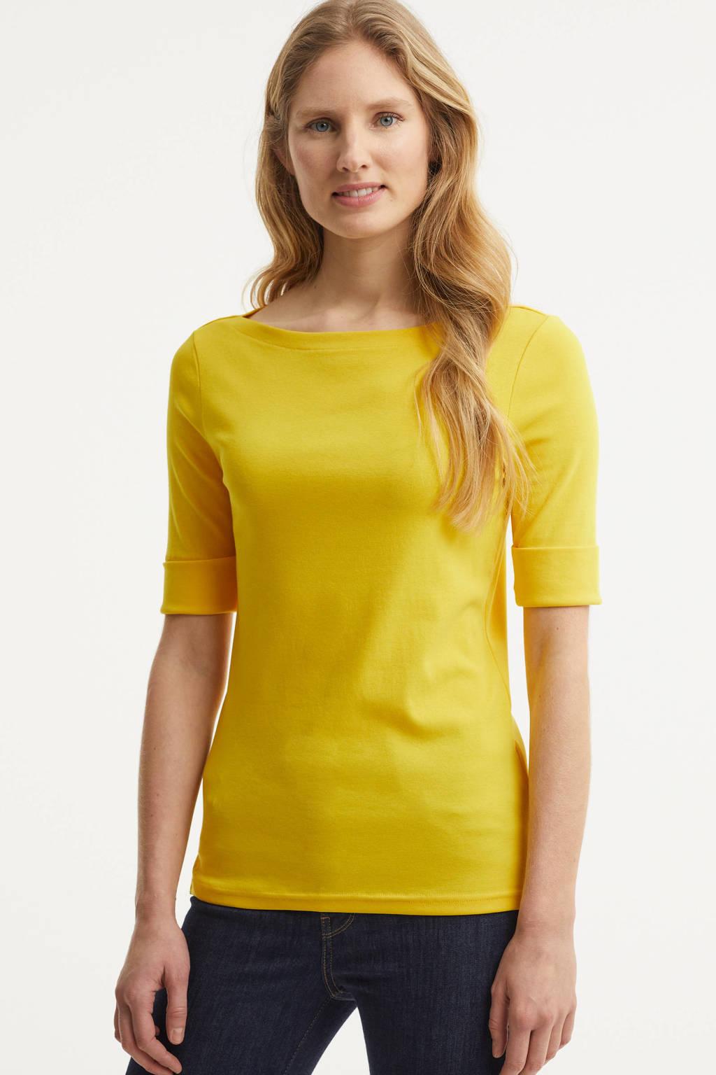 Lauren Ralph Lauren top Judy met borduursels geel, Geel