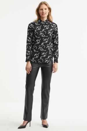 blouse Kristy met all over print zwart/wit