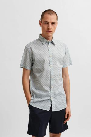 slim fit overhemd Trevor met all over print lichtblauw/beige