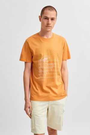 T-shirt Collin Camp van biologisch katoen oranje