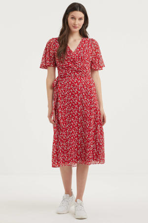 maxi jurk met all over print en ceintuur rood/wit