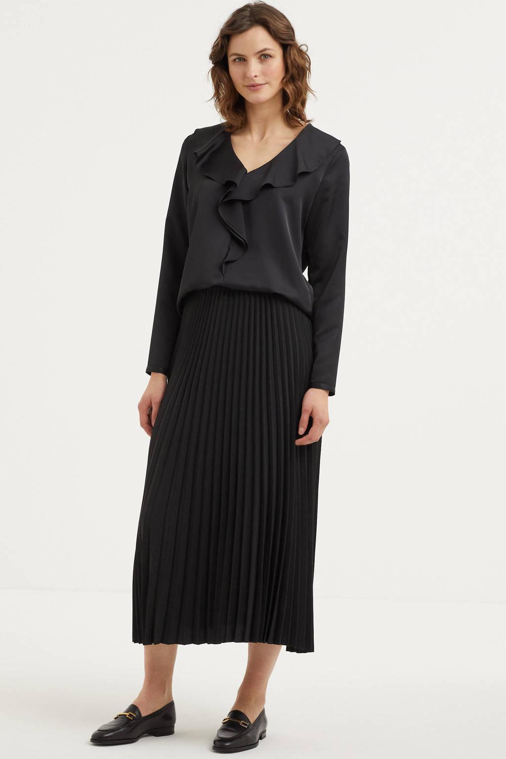 Lauren Ralph Lauren top met ruches zwart, Zwart