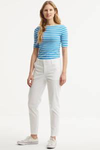 Lauren Ralph Lauren top Judy met borduursels blauw/wit, Blauw/wit
