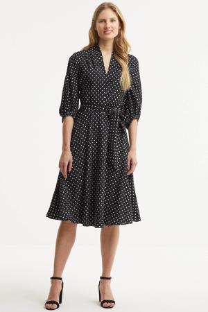 semi-transparante A-lijn jurk Bijourna met stippen en plooien zwart/wit