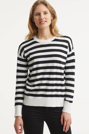gestreepte fijngebreide trui Loresha wit/zwart