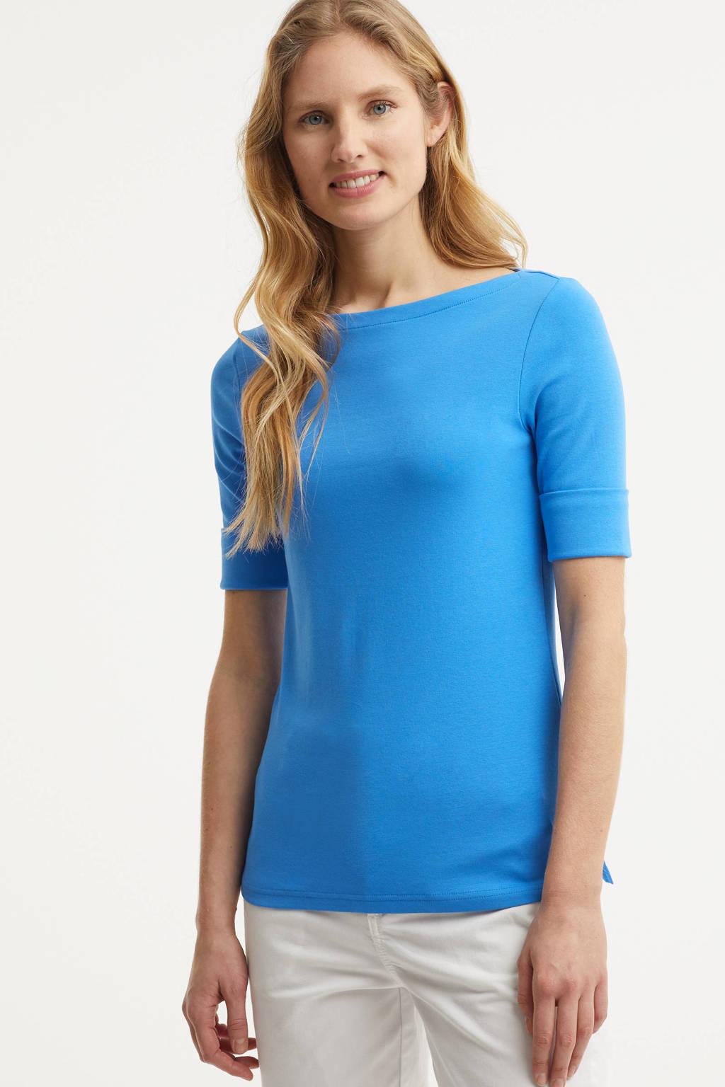 Lauren Ralph Lauren top Judy met borduursels blauw, Blauw