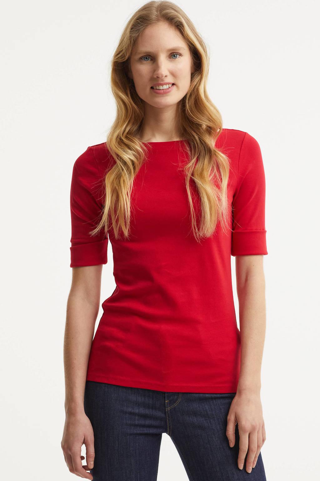 Lauren Ralph Lauren top Judy met borduursels rood, Rood