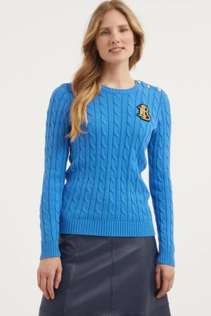 gebreide trui met patches blauw