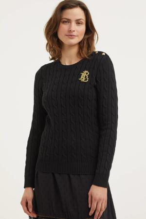 gebreide trui met patches zwart