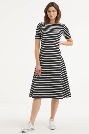 gestreepte A-lijn jurk zwart/wit